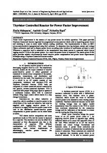 Thyristor Controlled Reactor for Power Factor Improvement