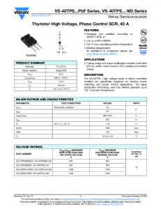 Thyristor High Voltage, Phase Control SCR, 40 A