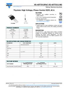 Thyristor High Voltage, Phase Control SCR, 40 A