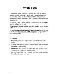 Thyroid Scan. To Prepare