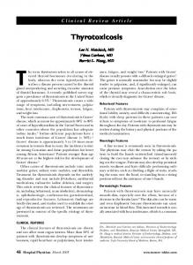 Thyrotoxicosis. Clinical Review Article. Lee N. Metchick, MD Vilma Carlone, MD Burritt L. Haag, MD