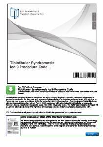 Tibiofibular Syndesmosis Icd 9 Procedure Code