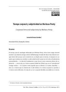 Tiempo corporal y subjetividad en Merleau-Ponty