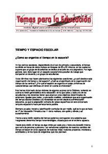 TIEMPO Y ESPACIO ESCOLAR