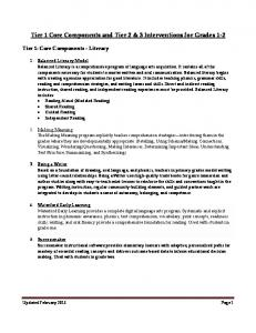 Tier 1 Core Components and Tier 2 & 3 Interventions for Grades 1-2