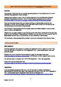 TIER 2 VISA APPLICATION GUIDANCE FOR OVERSEAS APPLICANTS