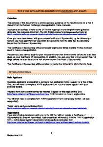 TIER 5 VISA APPLICATION GUIDANCE FOR OVERSEAS APPLICANTS