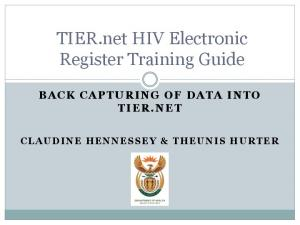 TIER.net HIV Electronic Register Training Guide