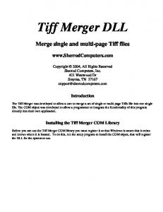 Tiff Merger DLL. Merge single and multi-page Tiff files