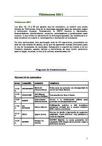 TifloInnova Programa de Presentaciones. Viernes 18 de noviembre. TifloInnova 2011