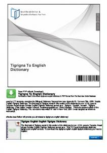 Tigrigna To English Dictionary