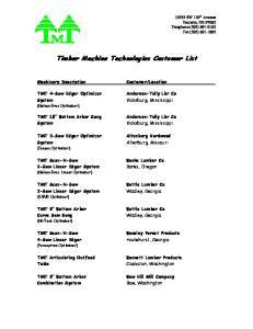 Timber Machine Technologies Customer List