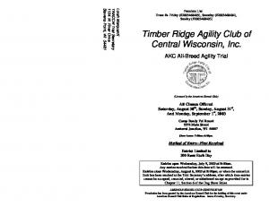 Timber Ridge Agility Club of Central Wisconsin, Inc