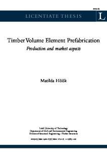 Timber Volume Element Prefabrication