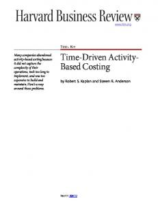 Time-Driven Activity- Based Costing