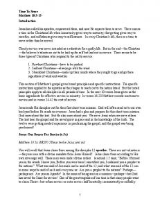 Time To Serve Matthew 10:5-15 Introduction