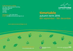 timetable autumn term th september 9th december