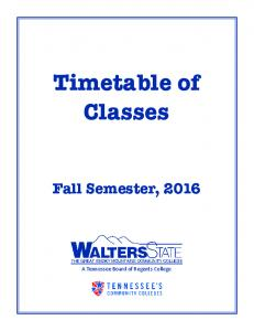 Timetable of Classes Fall Semester, 2016