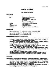 TIMUR KURAN. Last updated: April 2016