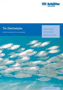 Tin Electrolytes. Brilliant prospects for your products. bright tin processes. matt tin processes. electroless tin processes