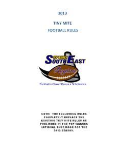 TINY MITE FOOTBALL RULES