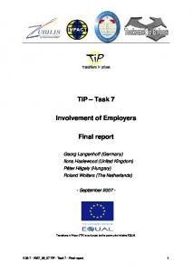 TiP Task 7. Involvement of Employers. Final report
