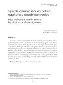Tipo de cambio real en Bolivia: equilibrio y desalineamientos