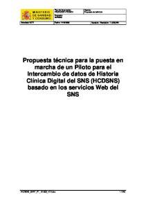 Tipo de documento: PROPUESTA TECNICA Proyecto: HCDSNS