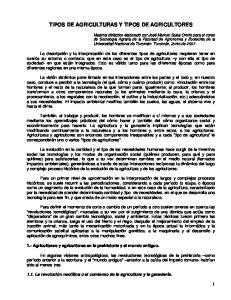TIPOS DE AGRICULTURAS Y TIPOS DE AGRICULTORES