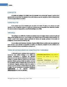 TIPOS DE DEFINICIONES DE CONSTRUCTO Y VARIABLE
