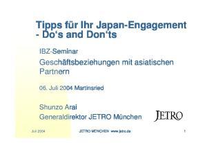 Tipps für Ihr Japan-Engagement - Do s and Don ts