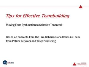 Tips for Effective Teambuilding