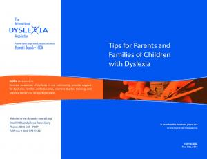 Tips for Parents and Families of Children with Dyslexia