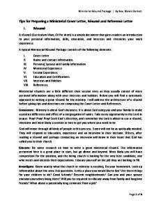 Tips for Preparing a Ministerial Cover Letter, Résumé and Reference Letter I. Résumé