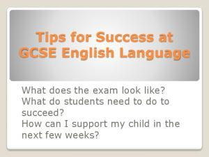 Tips for Success at GCSE English Language