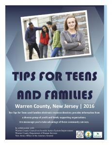 TIPS FOR TEENS AND FAMILIES