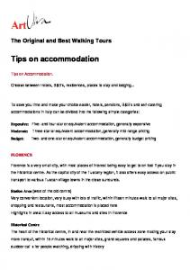 Tips on accommodation