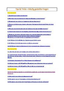 Tips & Tricks Häufig gestellte Fragen