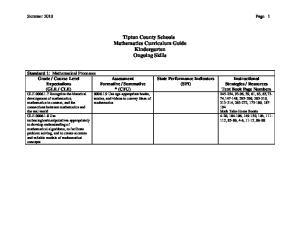 Tipton County Schools Mathematics Curriculum Guide Kindergarten Ongoing Skills