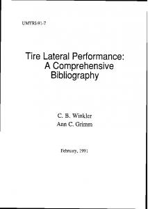 Tire Lateral Performance: A Com~rehensive