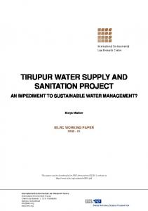 TIRUPUR WATER SUPPLY AND SANITATION PROJECT