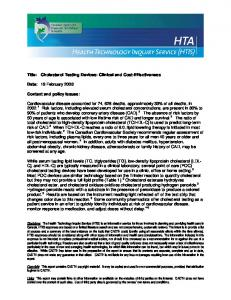 Title: Cholesterol Testing Devices: Clinical and Cost-Effectiveness. Date: 19 February Context and policy issues: