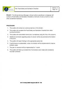 Title: Food Safety and Sanitation Checklist