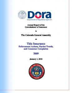 Title Insurance Enforcement Actions, Market Trends, and Consumer Complaints