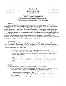 Title IV Federal Student Aid Satisfactory Academic Progress Appeal Application and Instructions Fall Semester
