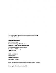Title: Methodological aspects of environmental assessment of buildings Author: Tove Malmqvist