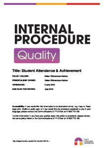 Title: Student Attendance & Achievement