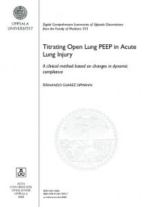Titrating Open Lung PEEP in Acute Lung Injury