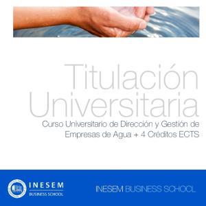 Titulación Universitaria. Curso Universitario de Dirección y Gestión de Empresas de Agua + 4 Créditos ECTS
