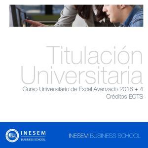 Titulación Universitaria. Curso Universitario de Excel Avanzado Créditos ECTS